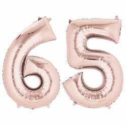 Folie ballon cijfer 65 rose goud