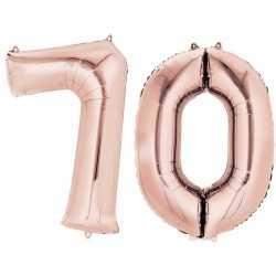 Folie ballon cijfer 70 rose goud