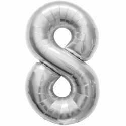 Folie ballon cijfer 8 zilver