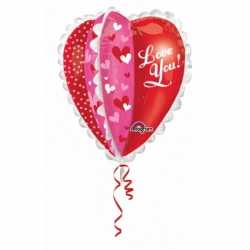 Folie ballon hartjes love you 76
