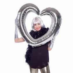 Folie foto frame hart zilver 80 bij 75
