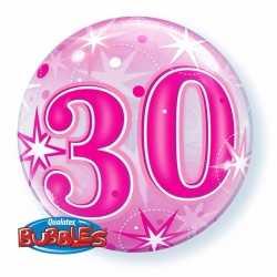 Folie helium ballon 30 jaar roze 55