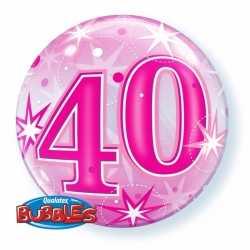 Folie helium ballon 40 jaar roze 55