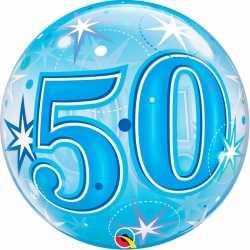 Folie helium ballon 50 jaar blauw 55