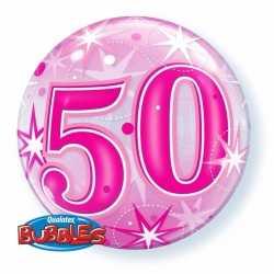 Folie helium ballon 50 jaar roze 55