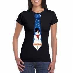 Fout kerst t shirt zwart sneeuwpop stropdas dames