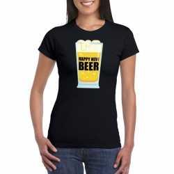 Fout oud nieuw t shirt happy new beer / year zwart dames