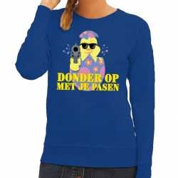 Fout paas sweater blauw donder op je pasen dames