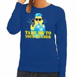 Fout paas sweater blauw take me to your leader dames