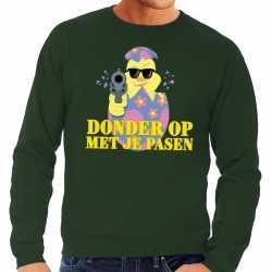 Fout paas sweater groen donder op je pasen heren