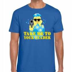 Fout paas t shirt blauw take me to your leader heren