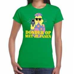 Fout paas t shirt groen donder op je pasen dames