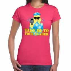 Fout paas t shirt roze take me to your leader dames