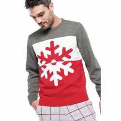 Foute gebreide kersttrui grijs/rood sneeuwvlok heren