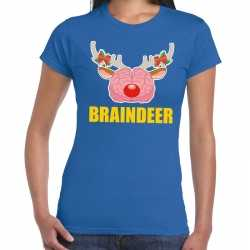 Foute kerst t shirt braindeer blauw dames