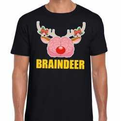 Foute kerst t shirt braindeer zwart heren