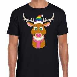 Foute kerst t shirt gay rudolf het rendier zwart heren