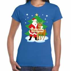 Foute kerst t shirt kerstman rendier rudolf blauw dames