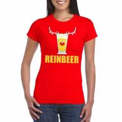 Foute kerst t shirt reinbeer rood dames