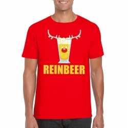 Foute kerst t shirt reinbeer rood heren