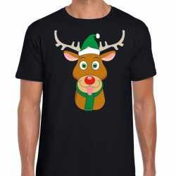Foute kerst t shirt rendier rudolf groene kerstmuts zwart heren