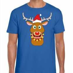 Foute kerst t shirt rendier rudolf rode kerstmuts blauw heren