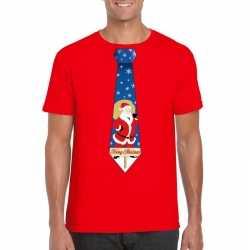 Foute kerst t shirt stropdas kerstman print rood heren