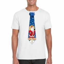 Foute kerst t shirt stropdas kerstman print wit heren