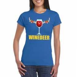Foute kerst t shirt winedeer blauw dames