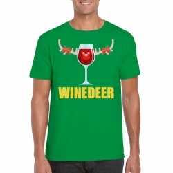 Foute kerst t shirt winedeer groen heren