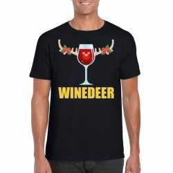 Foute kerst t shirt winedeer zwart heren