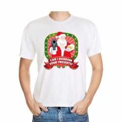 Foute kerst t shirt wit can i borrow some presents heren