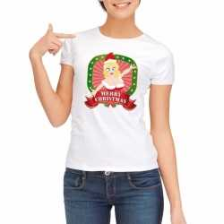 Foute kerst t shirt wit merry christmas dames
