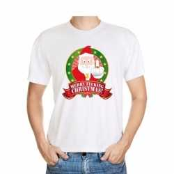 Foute kerst t shirt wit merry fucking christmas heren