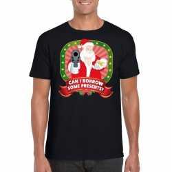 Foute kerst t shirt zwart can i borrow some presents heren
