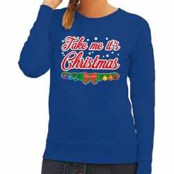 Foute kersttrui blauw take me its christmas dames