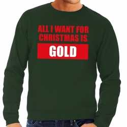 Foute kersttrui christmas gold groen heren