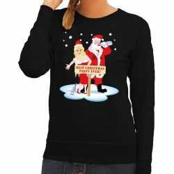 Foute kersttrui dronken kerstman kerstvrouw zwart dames