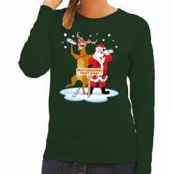 Foute kersttrui dronken kerstman rendier rudolf groen dames