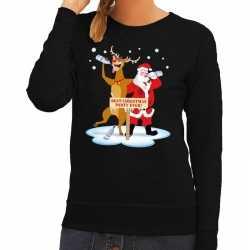 Foute kersttrui dronken kerstman rendier rudolf zwart dames
