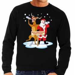 Foute kersttrui dronken kerstman rendier rudolf zwart heren