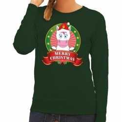 Foute kersttrui eenhoorn groen merry christmas dames