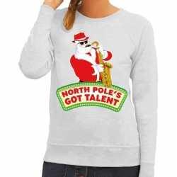 Foute kersttrui grijs north poles got talent dames