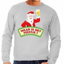 Foute kersttrui grijs waar is het feestje heren