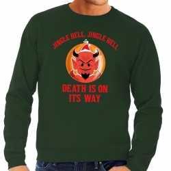 Foute kersttrui groen jingle hell heren