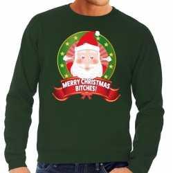 Foute kersttrui groen merry christmas bitches heren