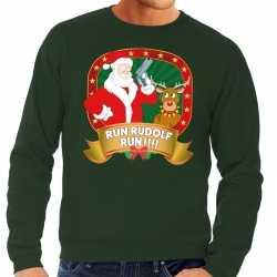 Foute kersttrui groen run rudolf run heren