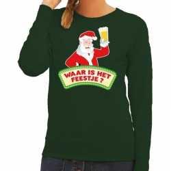 Foute kersttrui groen waar is het feestje dames