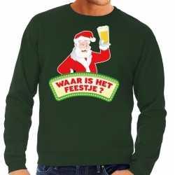 Foute kersttrui groen waar is het feestje heren