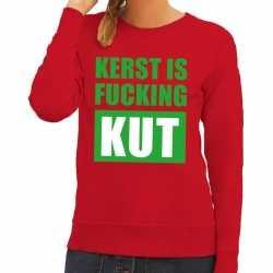 Foute kersttrui kerst is fucking kut rood dames